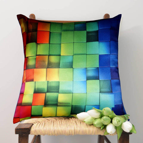 Lushomes Digital Printed Cube Cushion Cover on Ultra Premium Whiteout Fabric - Lushomes