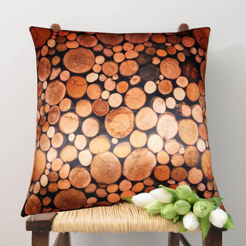 Lushomes Digital Printed Log Cushion Cover on Ultra Premium Whiteout Fabric - Lushomes