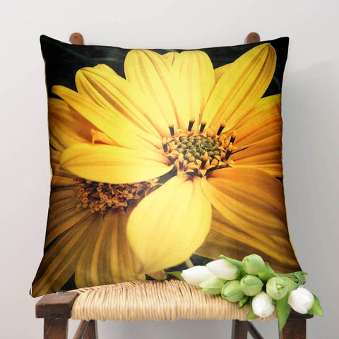 Lushomes Digital Printed Sunflower Cushion Cover on Ultra Premium Fabric - Lushomes