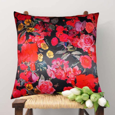 Lushomes Digital Printed Rose Cushion Cover on Ultra Premium Whiteout Fabric - Lushomes