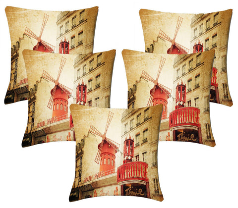 Lushomes Digital Print Windmill Cushion Covers (Pack of 5) - Lushomes