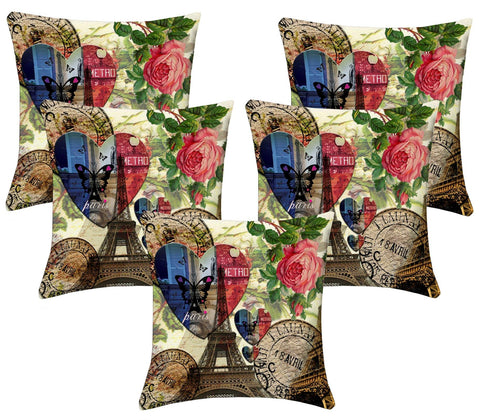 Lushomes Digital Print Paris Love Cushion Covers (Pack of 5) - Lushomes