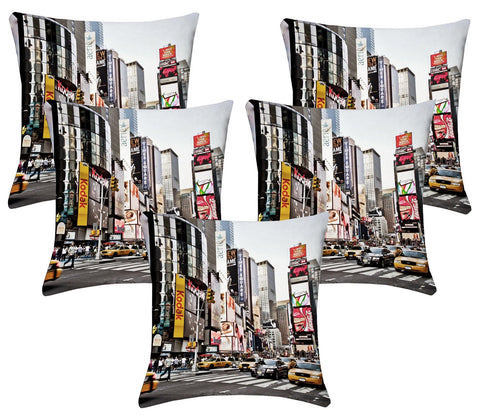 Lushomes Digital Print Times Square Cushion Covers (Pack of 5) - Lushomes