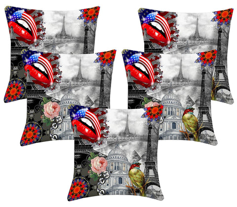 Lushomes Digital Print Sketch Cushion Covers (Pack of 5) - Lushomes