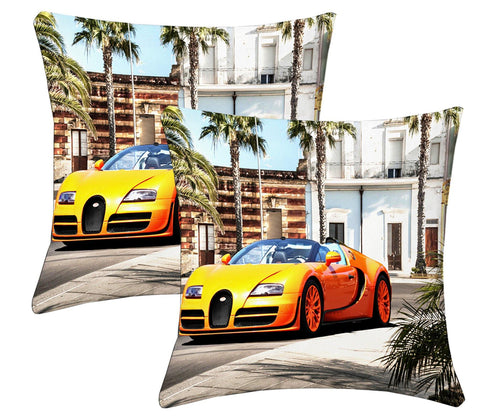 Lushomes Digital Print Car Cushion Covers (Pack of 2) - Lushomes