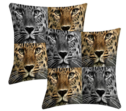 Lushomes Digital Print Animal Cushion Covers (Pack of 2) - Lushomes