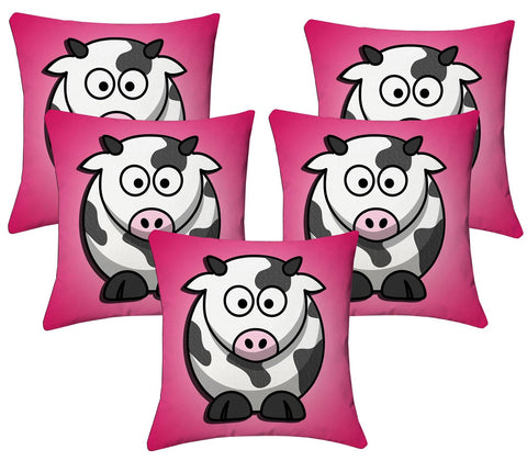 Lushomes Kids Digital Print Cow Cushion Covers (Pack of 5) - Lushomes