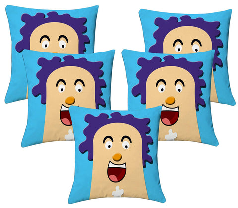 Lushomes Kids Digital Print Laughter Cushion Covers (Pack of 5) - Lushomes