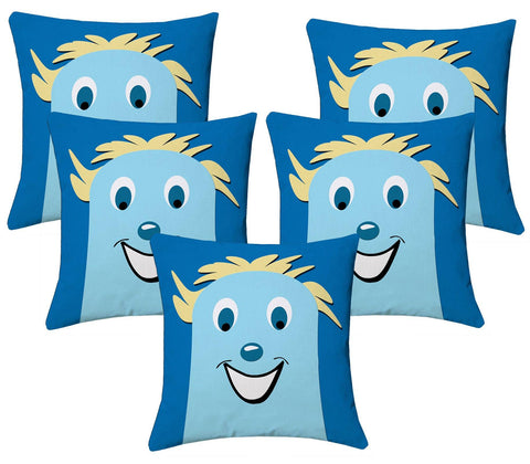 Lushomes Kids Digital Print Smile Cushion Covers (Pack of 5) - Lushomes