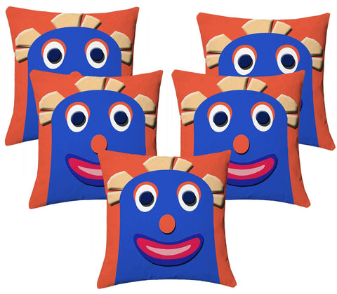 Lushomes Kids Digital Print Bald Funny Woman Cushion Covers (Pack of 5) - Lushomes