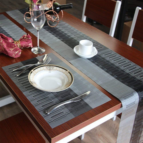 Lushomes Silver Grey Bamboo Waterproof 6 PVC Placemats and Runner Set ( Pack of 7) - Lushomes