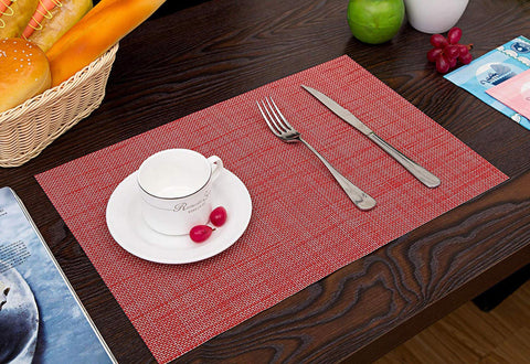 Lushomes Red Jacquard Waterproof 6 PVC Placemats and Runner Set ( Pack of 7) - Lushomes