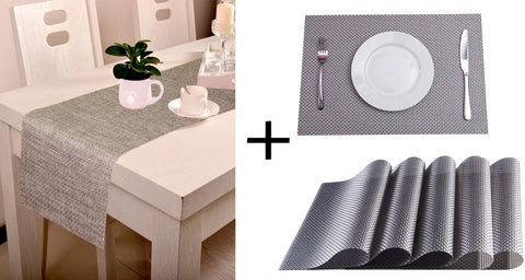 Lushomes Shiny Silver Waterproof 6 PVC Placemats and Runner Set ( Pack of 7) - Lushomes