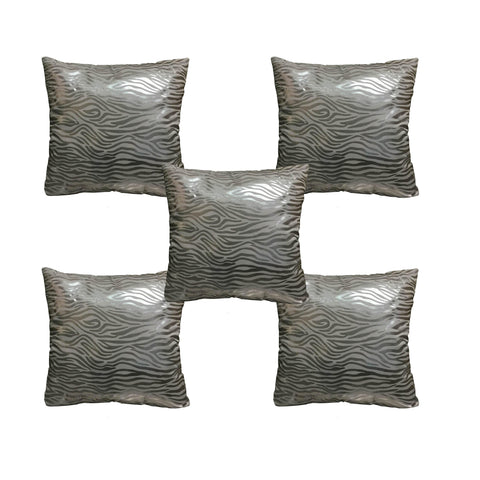 "Lushomes Silver Foil Printed Cushion Covers Size 16"" x 16"" (Pack of 5) - Lushomes"