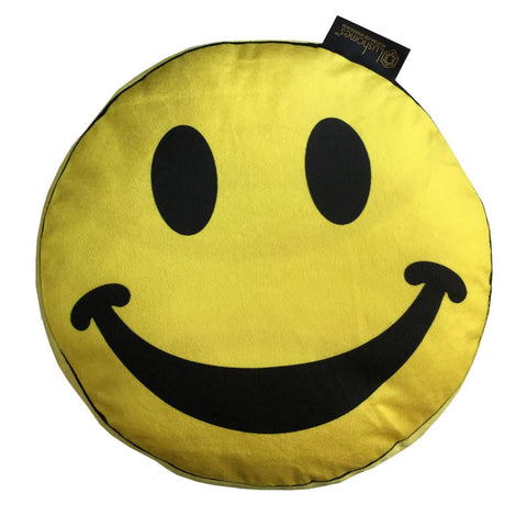 "Lushomes Happiness Smiley Emoticon Velvet Cushion (Pack of 1, 15"" inches Round) - Lushomes"