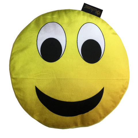 "Lushomes Happy Smiley Emoticon Velvet Cushion (Pack of 1, 15"" inches Round) - Lushomes"