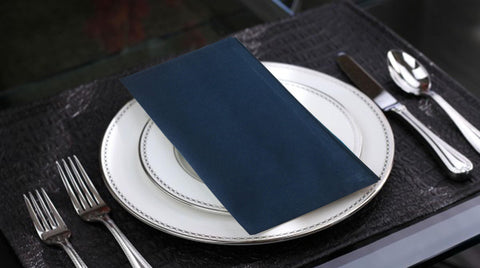 "Lushomes Navy Blue Premium Cotton Plain Dinner Cloth Napkins Set (6 pcs) Size: 17""x17"" - Lushomes"