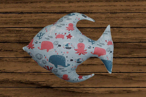 Lushomes 100 % Cotton Ocean Fish Cushion with Polyester filling (Vacuum Packed, Single Pc) (Size: 30X40 cms) - Lushomes