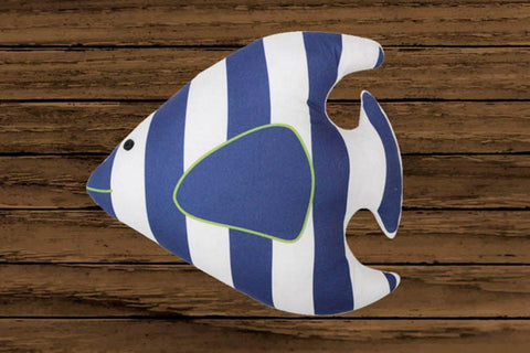 Lushomes 100 % Cotton Striped Fish Cushion with Polyester filling (Vacuum Packed, Single Pc) (Size: 30X33 cms) - Lushomes