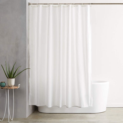 Lushomes White Plain Hotel Waterproof Bathroom Shower Curtain with 12 White Plastic Eyelets  and 12 C Rings - Lushomes