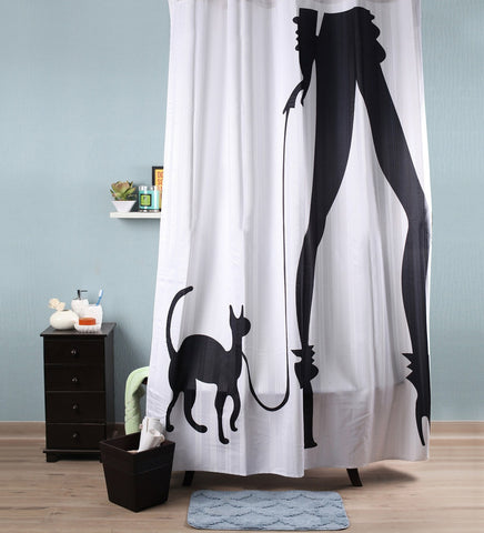 Lushomes Cat Woman Digital Printed Bathroom Shower Curtain with 10 Eyelets - Lushomes