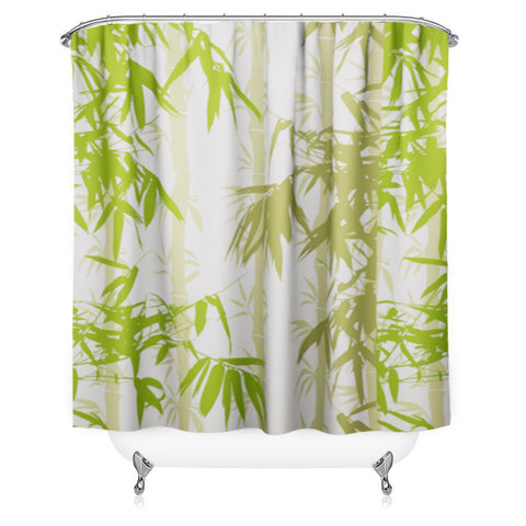 Lushomes Bamboo Digital Printed Bathroom Shower Curtain with 10 Eyelets - Lushomes