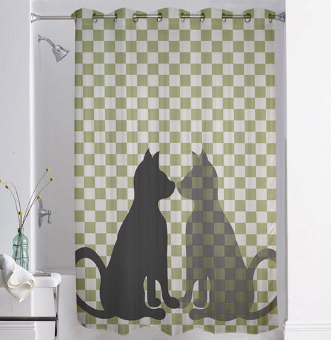 Lushomes Cat Digital Printed Bathroom Shower Curtain with 10 Eyelets - Lushomes