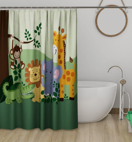 Lushomes Kids Animal Digital Printed Bathroom Shower Curtain with 10 Eyelets - Lushomes