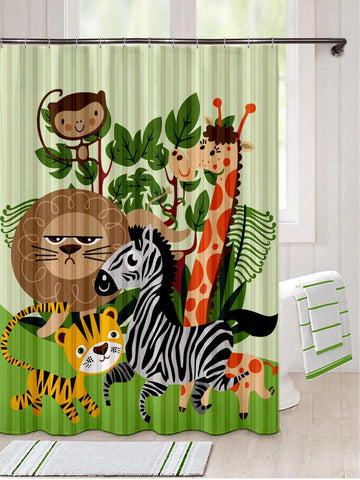 Lushomes Animal Kids Digital Printed Bathroom Shower Curtain with 10 Eyelets - Lushomes
