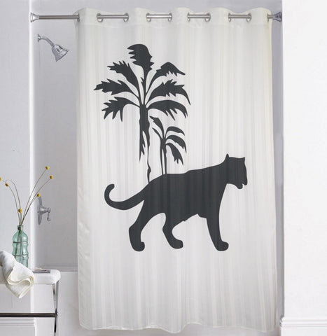 Lushomes Tiger Digital Printed Bathroom Shower Curtain with 10 Eyelets - Lushomes