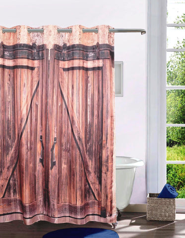 Lushomes Wooden Door Digital Printed Bathroom Shower Curtain with 10 Eyelets - Lushomes