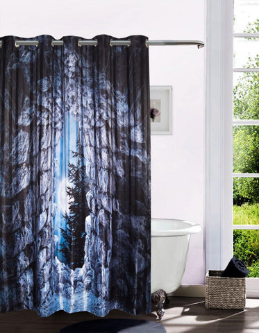 Lushomes Moon Cave Door Digital Printed Bathroom Shower Curtain with 10 Eyelets - Lushomes