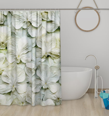 Lushomes White Lily Digital Printed Bathroom Shower Curtain with 10 Eyelets - Lushomes