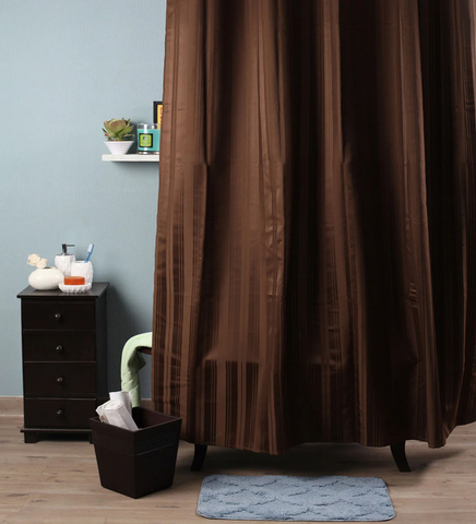 Lushomes Coffee Stripes Polyester Bathroom Waterproof Shower Curtain with 10 Eyelets