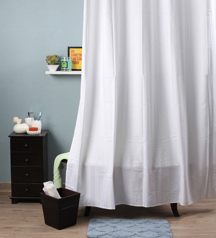 Lushomes White Stripes Polyester Bathroom Waterproof Shower Curtain with 10 Eyelets