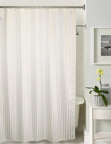 Lushomes White Stripe Waterproof Bathroom Shower Curtain with 12 Eyelets and 12 C-hooks - Lushomes