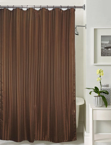 Lushomes Dark Brown Stripe Waterproof Bathroom Shower Curtain with 12 Eyelets and 12 C-hooks - Lushomes