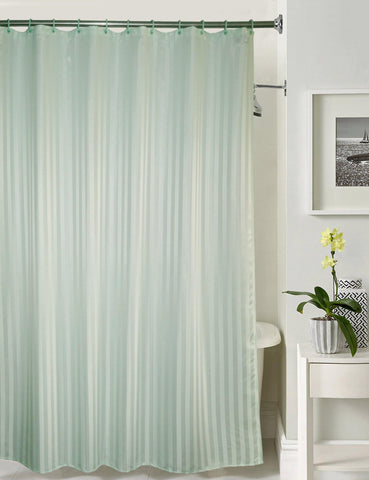 Lushomes Light Green Stripe Waterproof Bathroom Shower Curtain with 12 Eyelets and 12 C-hooks - Lushomes