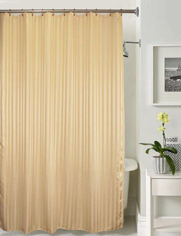 Lushomes Beige Stripe Waterproof Bathroom Shower Curtain with 12 Eyelets and 12 C-hooks - Lushomes