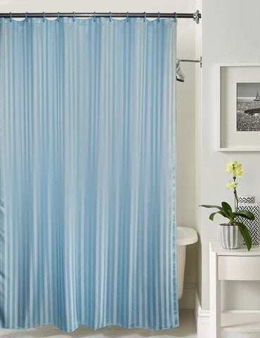 Lushomes Light Blue Stripe Waterproof Bathroom Shower Curtain with 12 Eyelets and 12 C-hooks - Lushomes