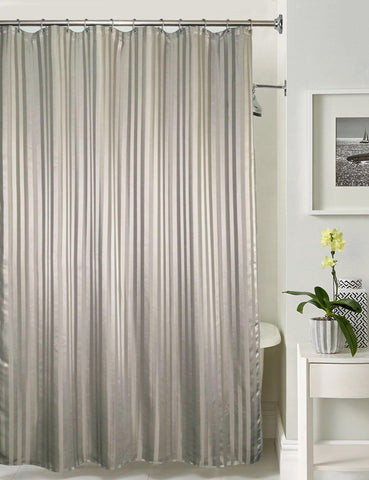 Lushomes Grey Stripe Waterproof Bathroom Shower Curtain with 12 Eyelets and 12 C-hooks - Lushomes
