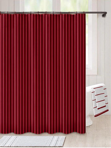 "Lushomes Maroon Thick Striped Water Repellent Shower Bathroom Curtain with 12 Eyelets and 12 C-Hooks (72"" x 80"" or 180 x 200 cms) - Lushomes"
