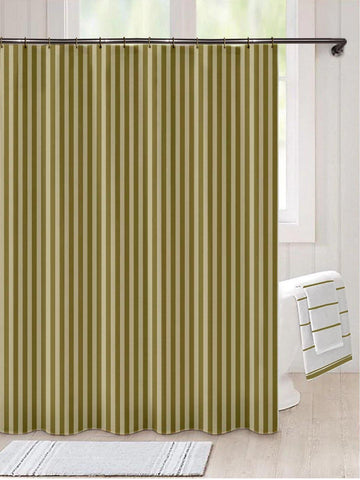 "Lushomes Green Olive Thick Striped Water Repellent Shower Bathroom Curtain with 12 Eyelets and 12 C-Hooks (72"" x 80"" or 180 x 200 cms) - Lushomes"
