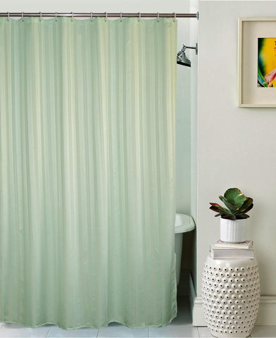 Lushomes Light Green Thick Stripe Waterproof Bathroom Shower Curtain with 12 Eyelets and 12 C-hooks - Lushomes