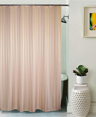 Lushomes Peach Thick Stripe Waterproof Bathroom Shower Curtain with 12 Eyelets and 12 C-hooks - Lushomes