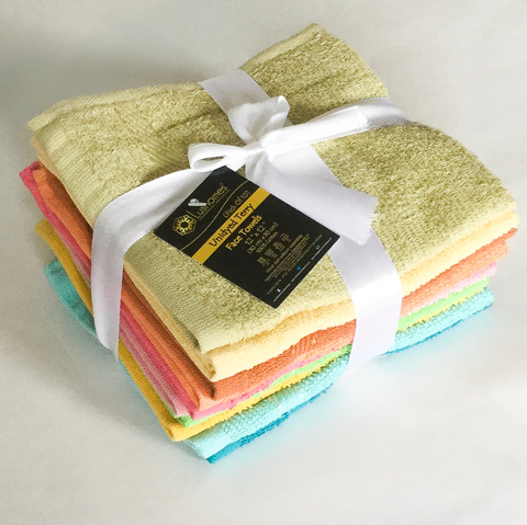 Lushomes Cotton Face Cloth Towel Pack of 10 Pcs (Size: 12x12-inch) - Multicolour - Lushomes