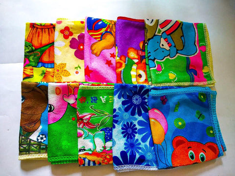 Lushomes Polyester Printed Quick Dry Microfiber Face Hand Small Towel Set of 10 (25 x 25 cms) - Lushomes