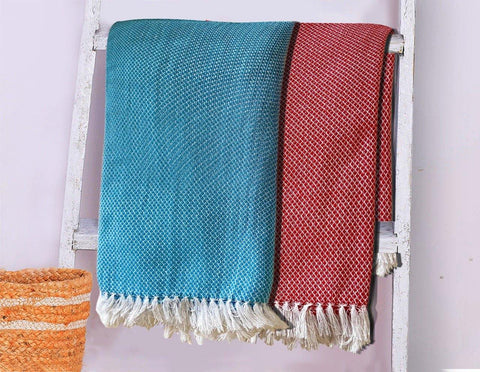 Lushomes Blue & Red Dobby Weave  Cotton Full Size Bath Towel Checks Combo of Good Quality (Pack of 2, Size 70 x 145 cms)