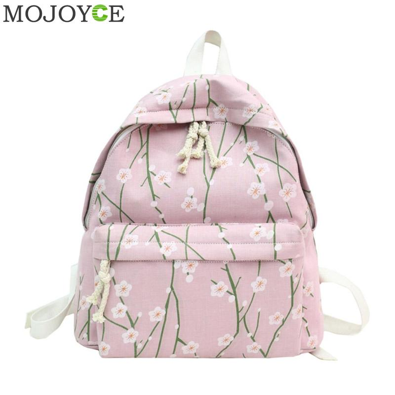 7782a993e0 Floral Print Teenager Girls Backpack Preppy Style School Bookbag Women  Canvas Cute Shoulder Bags Travel Princess ...