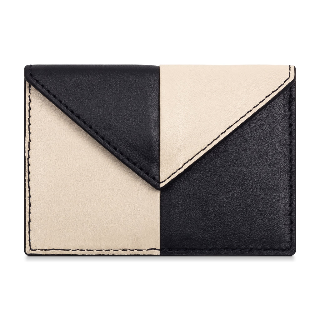 Color Blocked Card Case- Black